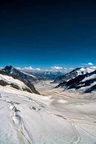 Blick vom Joch auf den Aletschgletscher