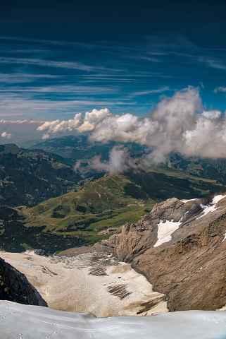 Blick vom Jungfraujoch auf die kleine Scheidegg