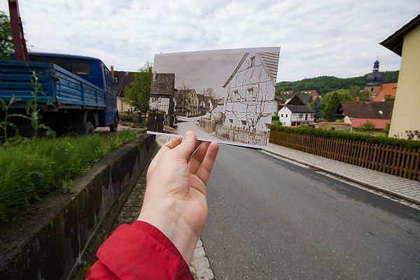 Blick von der Ortseinfahrt Kasendorf aus Richtung Thurnau