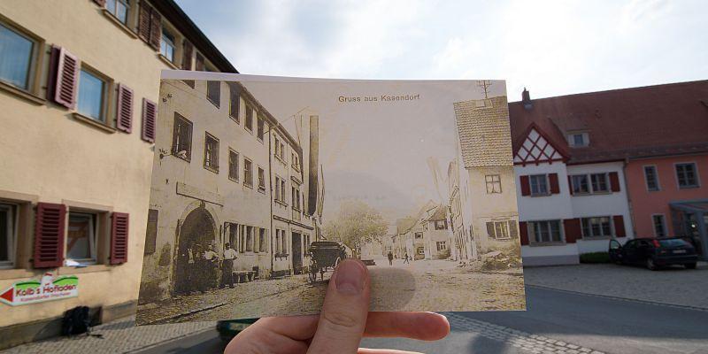 Blick vom Schwarzen Ross zum Marktplatz Kasendorf
