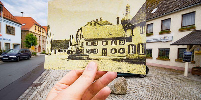 Blick auf den Marktplatz Kasendorf mit Herkulesbrunnen